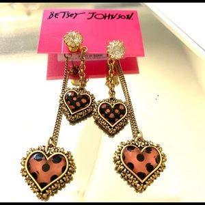 Betsey Johnson Heart Charm Bracelet & Earring Set